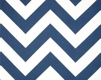 SALE Large Blue Chevron fabric by the BOLT home decor Premier Prints Zippy premier navy white zigzag SLUB curtains runners pillows 30 yards!