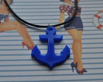 Rockabilly/Nautical Blue Anchor Necklace // Nautical Necklace // Anchor Necklace //  Rockabilly Necklace