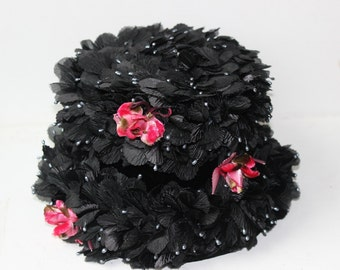 Vintage Black Hat with Pink Flowers Full of Petalsand with Seed Pearls by Darcel Exclusive