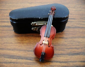 Vintage Violin Brooch Pin With Case-Musical Brooch-Violin Jewelry