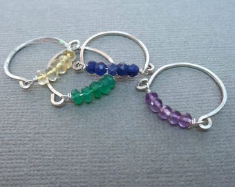 Dainty Gemstone Ring / Gemstone Ring Silver/ Birthstone Rings/ Birthday Gift /Garnet Moonstone Turquoise Sapphire Emerald Ruby Gems //GE25