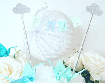 Decoration - Garland name for blue and silver-clouds-cake - cake topper