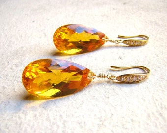 Citrine Gold Earrings - Pave - Luxury Statement Jewelry