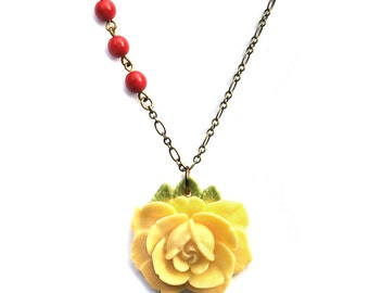 Yellow Rose Necklace. Bohemian. Hippie Chic.