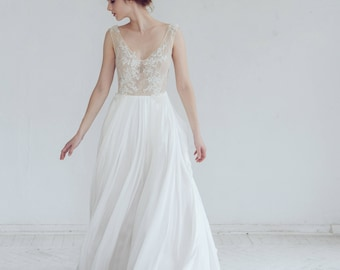 Silk wedding dress // Kyrene/ Simple bridal gown, beaded lace wedding gown, open back wedding dress, blush wedding dress, ivory skirt