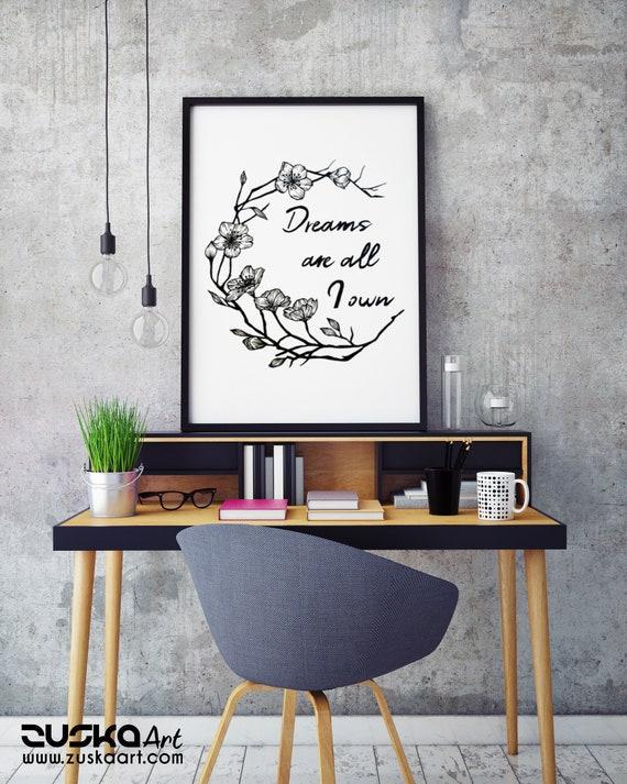 Dreams are all I own | Framed Poster | Typography Art | Cherry Tree Flowers | Geometric Art | Ink Tattoo style | Original Artwork | ZuskaArt
