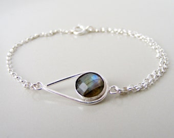 Labradorite Teardrop Bracelet - sterling silver bracelet - classic bracelet - stacking bracelet - labradorite bracelet -bridesmaid jewellery