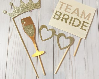 Gold Sparkly Bridal Photo Props