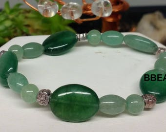 Bracelet green Aventurine, the angry, flat 6mm, rice oval beads