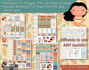 Native American Princess Weekly & Monthly Planner Sticker Kit | use with Erin Condren Planner | Printables | Pocahontas | PowerPoint | PDF
