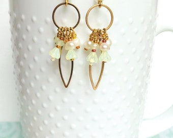 Floral Bouquet - Dangle, Drop Earrings brass rings and glass beads