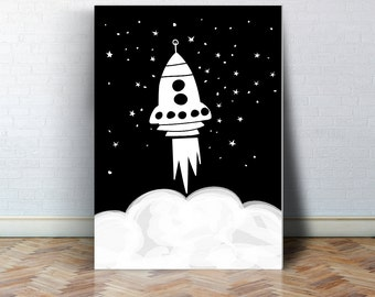 Rocket ship nursery art,  rocket black and white, scandinavian nursery decor, space and universe