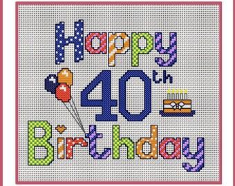 Happy 30th Birthday sampler, cross stitch design, Digital download