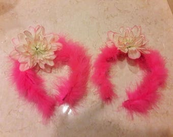 Bright Pink Marabou Hairband