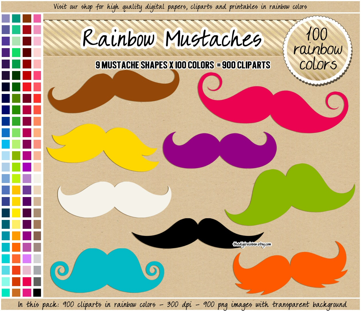 SALE 900 rainbow digital mustache cliparts printable photobooth ...