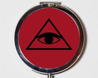 All Seeing Eye Compact Mirror - Illuminati Masonic Occult - Make Up Pocket Mirror for Cosmetics
