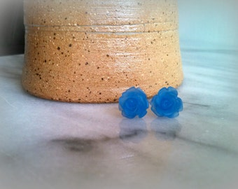 Frosted blue rose stud post earrings, flower jewelry, teen gift, girls, gifts for her, by ktnunna