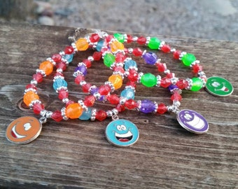 4 beaded bracelets with smile face charms - gifts for girls - accessories - blue, purple, orange, green