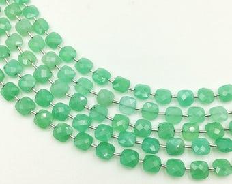 "Chrysoprase Checker Beads 8-9 mm (ONE 8"" Strand)"
