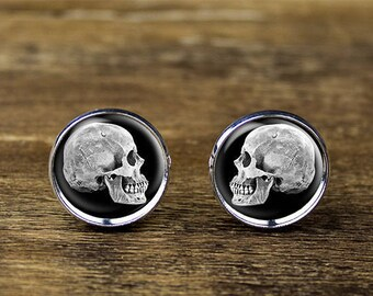 Skull cufflinks, Skull Head cufflinks, Skull jewelry, Skull accessories