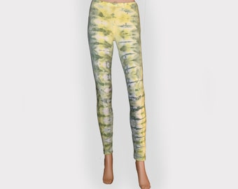 Tie Dye Leggings- Green and Yellow -Cotton Polyester Leggings-Small