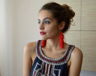 Four Layered Red Tassel Earrings Tiered Tassel Earrings Fringe Earrings Statement Earrings