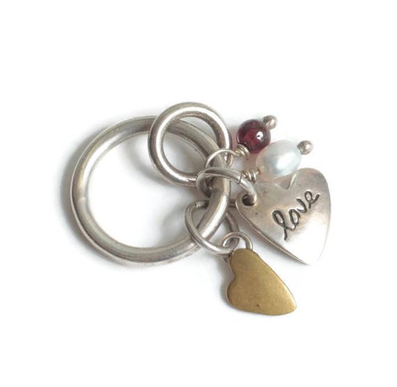Multi Charm Pendant Sterling Brass Heart Pearl Purple Bead Vintage