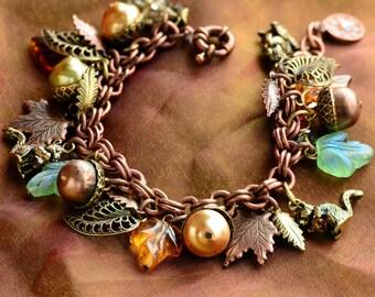 Squirrel Bracelet, Fall Bracelet, Squirrel Jewelry, Charm Bracelet, Leaf Bracelet, Fall Jewelry, Autumn Bracelet, Woodland Bracelet BR648