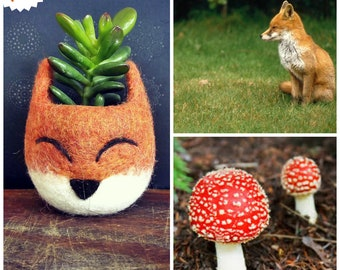 Small Succulent planter. Flower plant pot. Cute plant pots. Fox Animal plant pot. Kid plant pot. Felt Pot. Air Plant Terrarium Container.