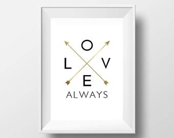 Love Always Printable Wall Art, Love Print, Digital Art, Typography Quote Poster, Love Poster, Motivational, Inspirational Poster, Romantic