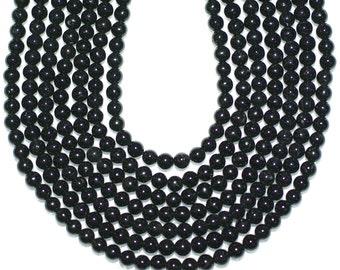 Black Tourmaline Beads 4 mm Round Full Or Half Strand