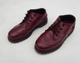 Maroon leather leather shoes = US 7.5 - 8 women handmade Rangkayo casual sneakers casual