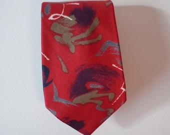 Red Cotton Necktie, 1970s Modern Necktie, Johnny Carson Necktie, Red/Black/Gray Necktie, Abstract Print Necktie, Mint Condition, Gift 4 Him