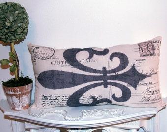 French Market Fleur De Lis Paris Stamp and Postcard Home Decor Pillow