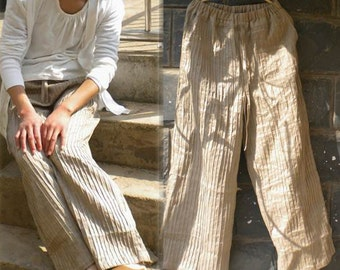 034---Women's Hand-Pintucked Wide Leg Ramie Pants, Made to Order,Unique, Khaki Pants.
