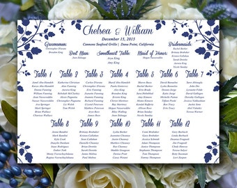 "Vintage Wedding Seating Chart Download | Wedding Seating Sign ""Gardenia"" Navy Blue 