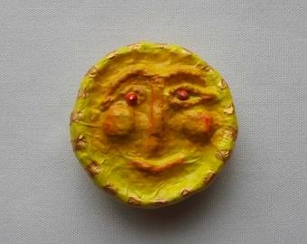 SUN Brooch - Papermache, Paper Mache, Papier-Mâché, Papier-Mache, Sun Pin, Solar, Sun Face Brooch, Sun Face Pin