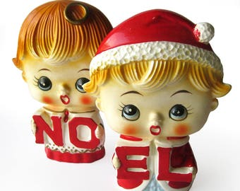 RARE Vintage Christmas NOEL Set / Mid Century Big Eyes Figurines / Lipper and Mann Salt and Pepper Shaker Set / Angel Halo / Santa Hat