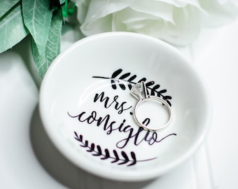 Wedding gift etsy personalized ring dish mrs ring dish bride gift engagement gift wedding negle Images