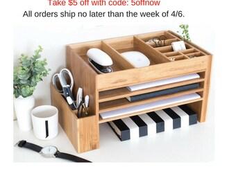 Desk Caddy, Desk Decor, Pen Holder, Office Supplies, Desktop Storage, Docking Station