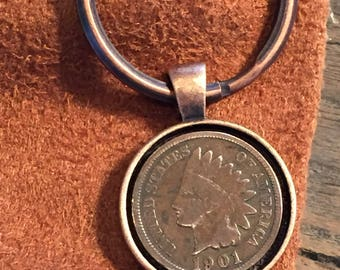 1901 Indian Head Penny Keychain - Antique Copper