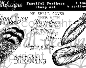 Fanciful Feather Digital Stamp Set