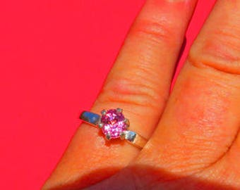 Spinel Ring - Pink Purple Spinel Woman's Ring - Size 6 3/4 - Can be Size 7 - 6-Prong Sterling Silver Ring
