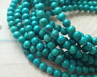 1 strand (15 inches) of 4 mm Blue Green Grade B-C Natural Turquoise Beads (u.m)