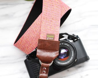 Rose Gold Camera Strap with Subtle Gold Sparkle - 1.5 inches wide for DSLR Camera or Mirrorless Camera - Linen Camera Strap