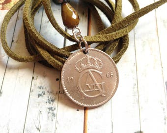 Vintage Swedish coin with long suede lace