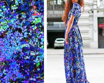 Floral Maxi Dress, Bohemian Dress, Bridesmaid Dress, Caftan Dress, Womens Kaftan, Blue Long Dress, Long Maxi Dress, Women Outfit