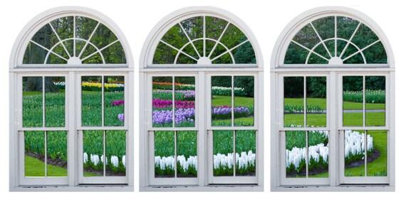 Faux window frame photo wall decals Dutch Garden-2 Holland