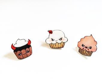 cute enamel pins - cupcake pins - food pins - funny pins - tack pins - pins set -gift set pins