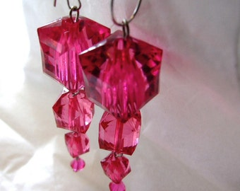 Sexy Fushia  Cube geometric  Lucite Earring! On Sale